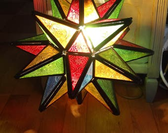 Chandelier suspension Moroccan electrified star shaped, faceted multicolored glass - Chandelier Moroccan lamp with multicolored lenses