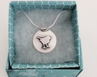 Little robin necklace; Handmade, Sterling silver