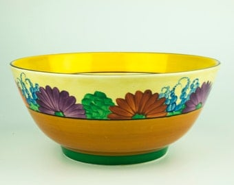 Incredible Art Deco Clarice Cliff Gayday Bizarre Fruit, Serving Bowl, 1930s