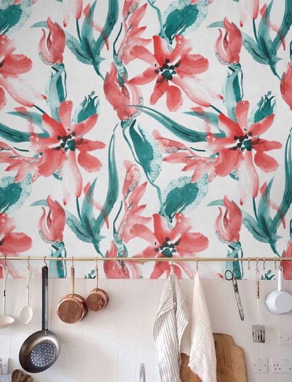 Watercolor Red Tulip Wallpaper Removable Wallpaper