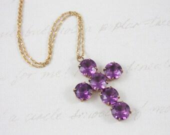 Vintage Faux Amethyst Cross Pendant - Cross Pendant Necklace - Purple Glass Necklace - Vintage Cross Necklace