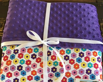 Floral Baby Quilt, Purple, Handmade Baby Quilt, Pink Flowers, Baby Blanket Girl, Minky Baby Quilt, Baby Gift