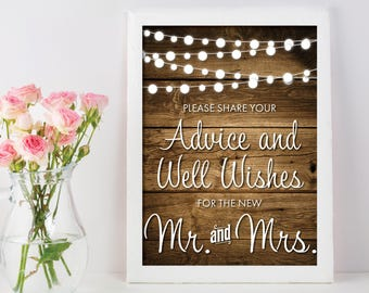 Advice And Well Wishes Sign | Wedding Advice Sign | Advice For The Bride And Groom | Rustic Wedding Decor | String Lights | Well Wishes Sign