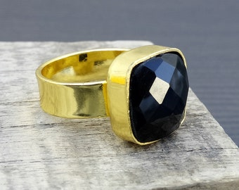 Black onyx rings | Hand crafted jewelry rings | Gold plated ring | Cushion checker stone ring | Birthday gift jewelry for mother/sister | R4