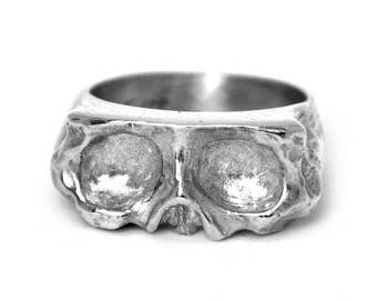 Large Sliced Silver Skull Ring