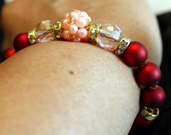 Beautiful Pearl & glass-beaded shamballa bracelet with tassels; handmade, beadweaving, cute, party wear, casual wear, Burgundy, pink, clear
