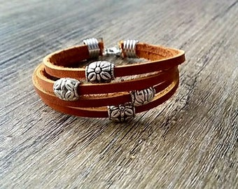 Leather multi band bracelet / tan leather bracelet / thick leather bracelet / women's leather bracelet / silver bracelet / rustic jewelry