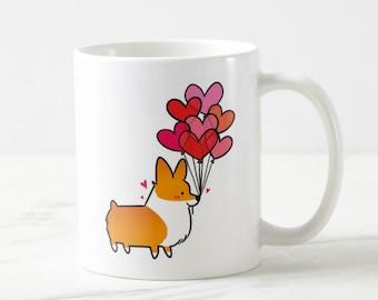Heart Balloons Corgi 11oz or 15oz Ceramic Mug | Choose Red, Red Tri-Color, Tri-Color | Cute Coffee Mugs | Corgi Lover Valentines Day