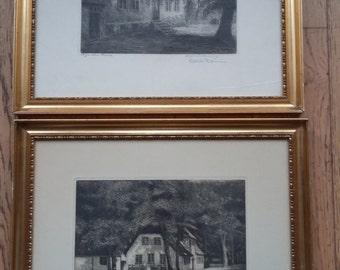 Two Vintage Framed Signed Original Renderings Original Drawings