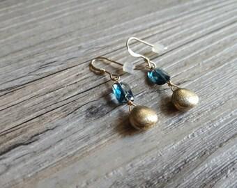 Gold Vermeil & Blue Topaz Bead Earrings