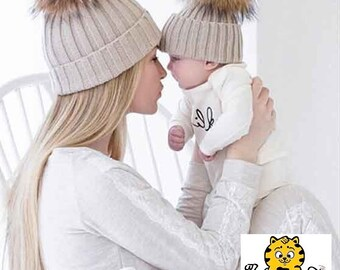Mom And Baby Winter Hat Cap Crochet Knitted