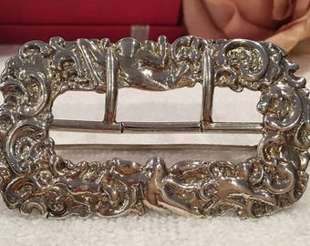 Antique Vintage  Solid Continental Silver Belt Buckle-Gorgeous CHERUB - CUPID - ANGEL Design-Lovely Condition-Weighs 33.79 grams