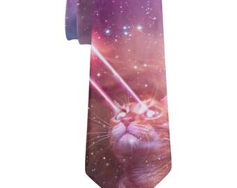 Galaxy Cat Laser Beams All Over Neck Tie