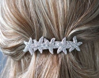 Beautiful Handmade Crystal Rhinestone Starfish Bridal Barrette (Sparkle-1896)