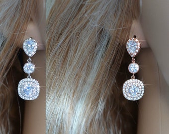 Handmade Luxe Cubic Zirconia CZ Bridal Dangle Earrings, Bridal, Wedding (Sparkle-2640)