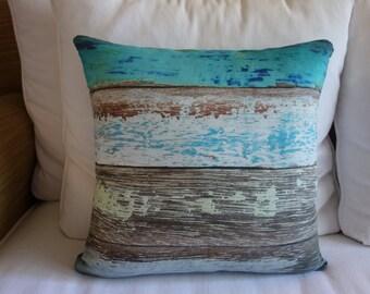 "The ""Mendocino"" Pillow, Decorative Pillow, Throw Pillow, Reclaimed Wood Print, Distressed Wood Print, Artistic Teal Stripe Throw Pillow"