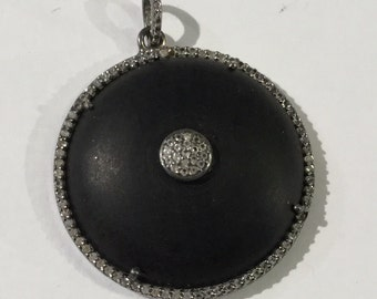 Pave white topaz Sterling silver pendent