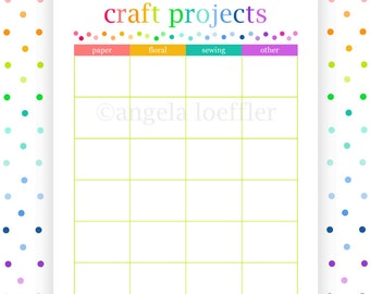 CRAFT PROJECTS, printable, planner, project planner, planning pages, instant download