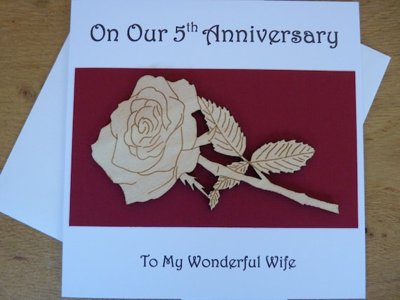 5th Wedding Anniversary Traditional Gifts: 5th Wedding Anniversary Card 5th Anniversary Card Card For