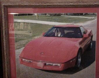 red corvette framed photo