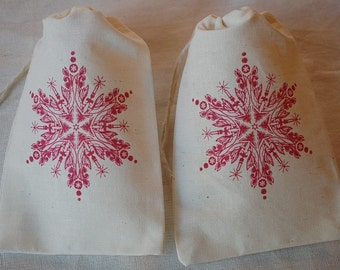 10 Christmas Red Snowflake muslin cotton favor bags 4x6 inch - goodie bags, party bags, gift bags, gift card holder, favor bags, cookie bags