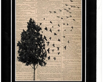 Vintage dictionary art tree birds flying away