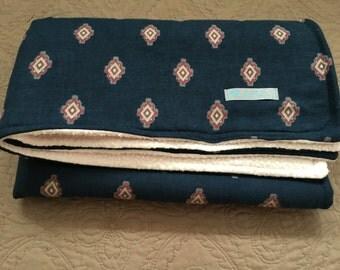 Aztec Navy & Pink Fleece Baby Blanket
