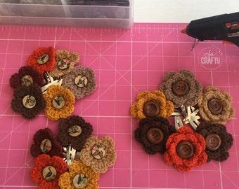 Autumnal hair clips, crochet flower clips, buttons