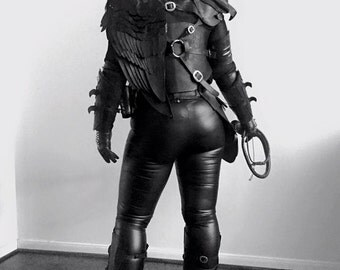 Raven Female Leather Armor Set - Leather Corset, Bracers, Mask, Shoulder Pauldrons, Shinguards, and Wing Armor