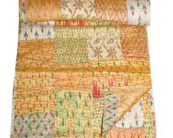 Silk Patchwork Quilt Vintage Old Patola Indian Sari Kantha Quilted Throws,Gudari Handmade Tapestery Queen Bedding