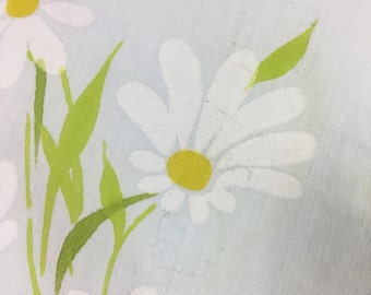 Vintage Sheet Fabric / 75x100 / white and gold floral on blue background / reclaimed fabric / quilting / sewing / crafting / poly cotton