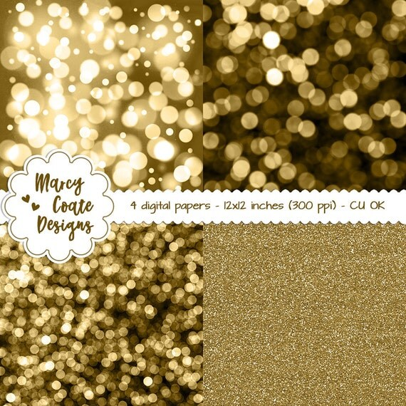 """Gold Bokeh Digital Papers and Gold Glitter Digital Paper 12x12"""" commercial use OK for planners, stickers, scrapbooking, card making, etc."""