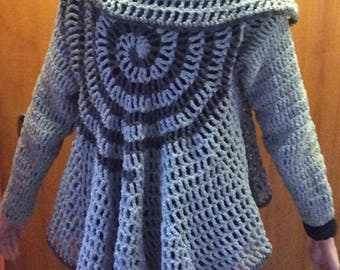 Handmade crocheted circular ladies cardigan/jacket/vest in light grey chenille with dark grey spiral pattern. Great gift for woman