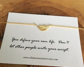 Gold Feather Necklace; Bridesmaid Gift, Friendship, Inspirational quote, best friend gift, charm necklace, gift for her, feather necklace