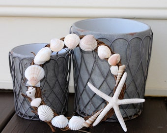 Mini Seashell Wreath, Small Shell Wreath, Tiny Starfish Wreath, Petite Nautical Wreath, Little Beach Wreath, Miniature Coastal Wreath