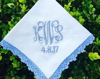 Womens Lace Monogrammed Handkerchief