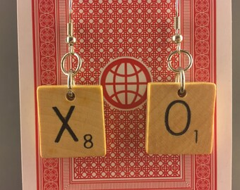 XO Scrabble Tile Earrings Wood