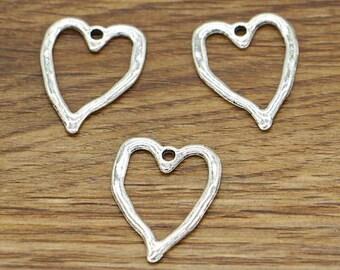 20pcs Open Hollow Heart Charms Connectors Valentine Charms Antique Silver Tone 19x24mm cf2524