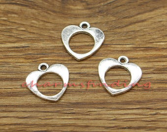 30pcs Heart Charms Open Heart Charms Love Charm Antique Silver Tone 17x17mm cf3142