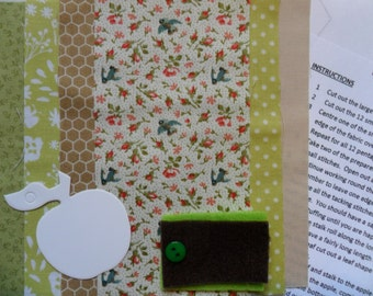 Green Patchwork Apple, Hand Sewing Kits