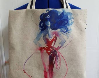 Wonder  - woman  - superhero - 50's - 60's - rockabilly  - Retro - kitschy  - funky - canvas - lined - beach - bag - purse - tote