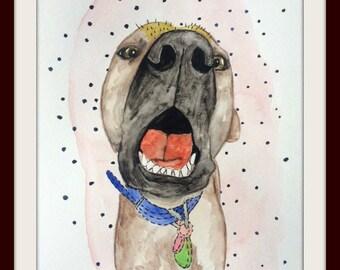 Big nose, original watercolor painting, paint, 9x12'', 2017, mexican hairless dog portrait xolo dog xoloitzcuintle doglover minimalist pet