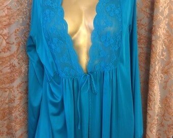 Gorgeous 1950's Vintage Aqua Nightgown/Nightdress/Robe Made in USA by Gilead