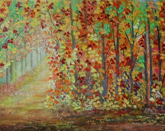 Autumn Trees Painting,Autumn Foliage,Autumn leaves,Fall Landscape,Nature Painting,Autumn Forest Scene,12X24 Inches Canvas Art.