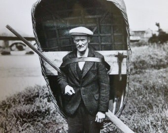 Vintage Black and White Postcard, Carmarthen Coracle Man, Vintage Welsh Postcard, Collectible Postcard, Historical Postcard
