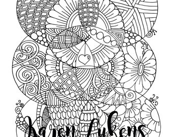 Globe Doodles, 1 Adult Coloring Book Page, Printable Instant Download, Valentine's