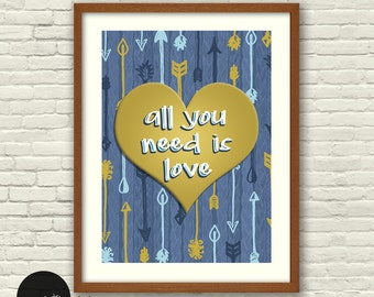 All You Need is Love, Love is All You Need, Beatles, Heart Art, Wall Art, Home Decor, Gold Hearts, Heart Prints, Digital Art Prints, Love