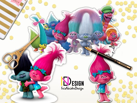 Printable Trolls Birthday Centerpiece