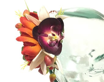 Plum orchid white orchids and orange mum with no transfer glitter tropical tiki hawaiian hair flower clip