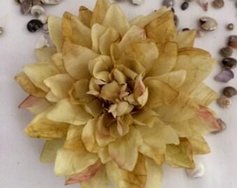 Golden Tropical Silk Flower hair clip